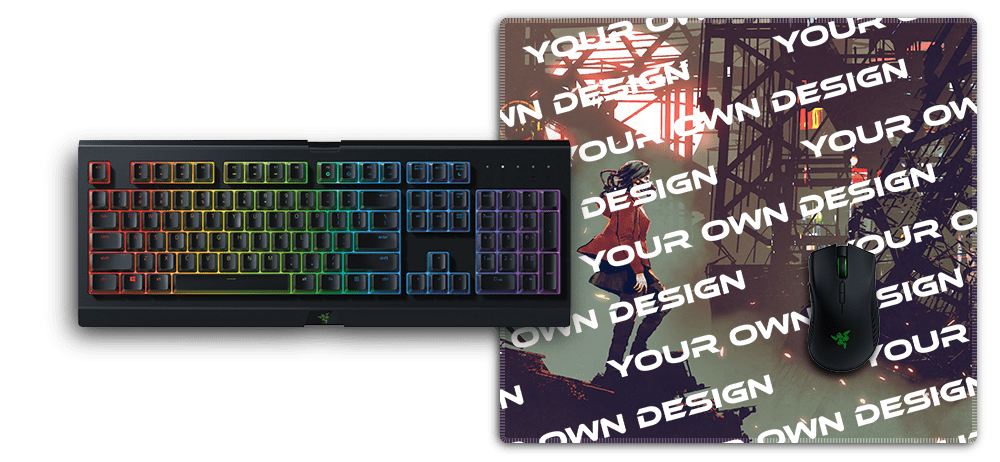 mousepad with stitched edges large under razer keyboard and mouse for size comparison